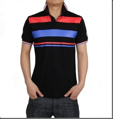 Moncler Fashion Men Black Short Sleeves T-shirt With Red Stripe